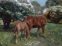 Alfred James Munnings - Mare and Foal in a Spring Meadow, 1909