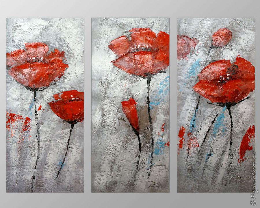 Картины триптих цветы купить где можно купить голубые розы в екатеринбурге