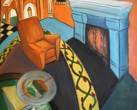 Комната с креслом и камином